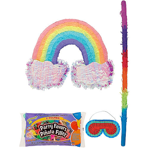 Rainbow and Clouds Pinata Kit with Candy & Favor Image #1
