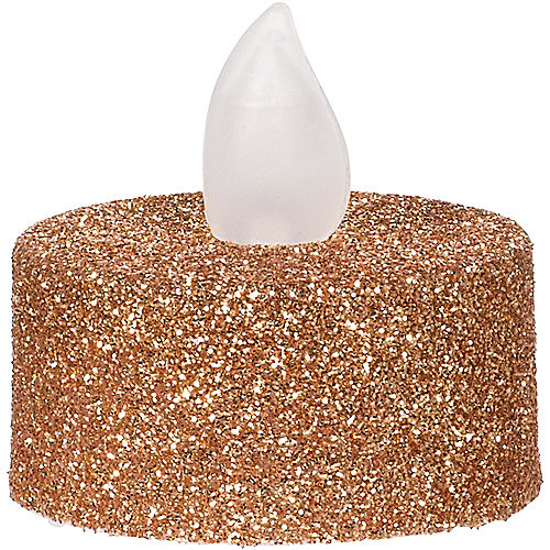 Glitter Rose Gold Tealight Flameless LED Candles 10ct Image #2