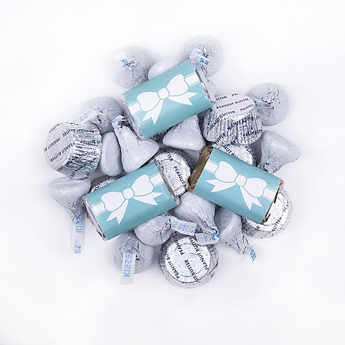 Wedding Tiffany Bow Hershey's Miniatures, Kisses and JC Peanut Butter Cups 180pc Image #1