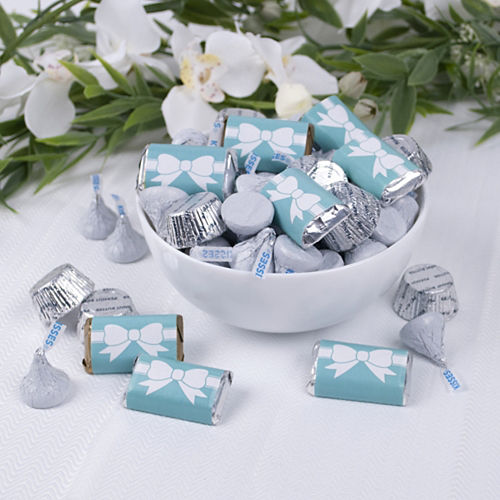 Wedding Tiffany Bow Hershey's Miniatures, Kisses and JC Peanut Butter Cups 180pc Image #2
