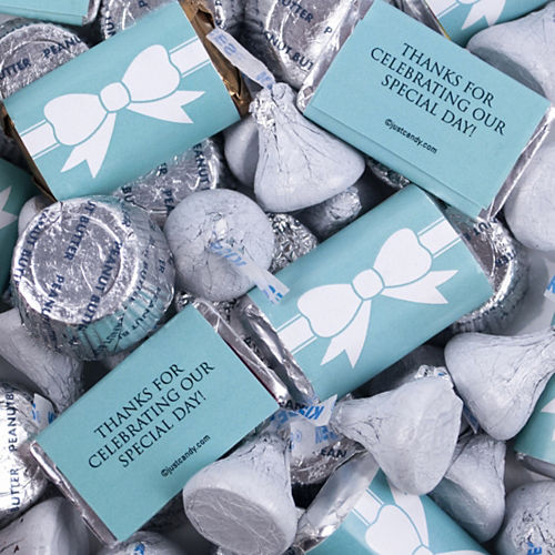 Wedding Tiffany Bow Hershey's Miniatures, Kisses and JC Peanut Butter Cups 180pc Image #3
