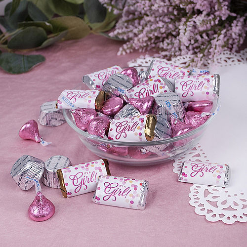 Baby Shower It's A Girl Hershey's Miniatures, Kisses and JC Peanut Butter Cups 180pc Image #2