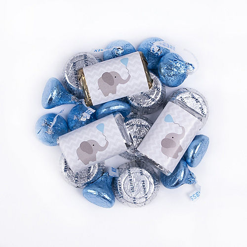Blue Elephant Baby Shower Hershey's Miniatures, Kisses and JC Peanut Butter Cups 180pc Image #1