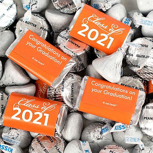 Orange Class of 2021 Graduation Hershey's Miniatures, Kisses & JC Peanut Butter Cups, 180pc Image #1