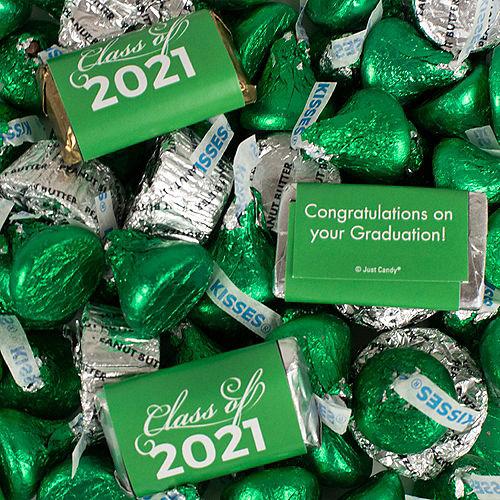Green Class of 2021 Graduation Hershey's Miniatures, Kisses & JC Peanut Butter Cups, 180pc Image #1