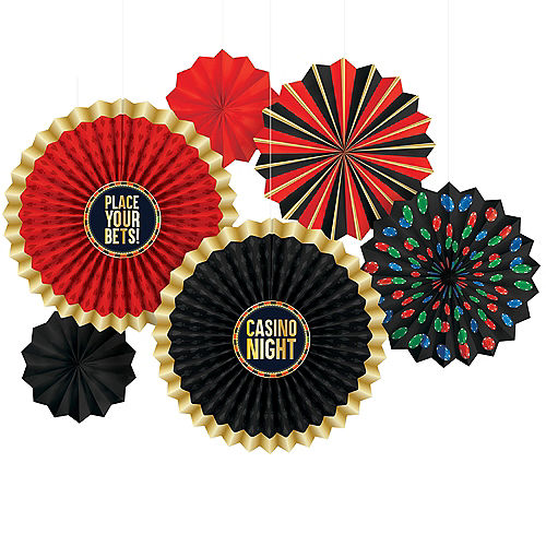 Roll The Dice Paper Fan Decorations 6ct Image #1