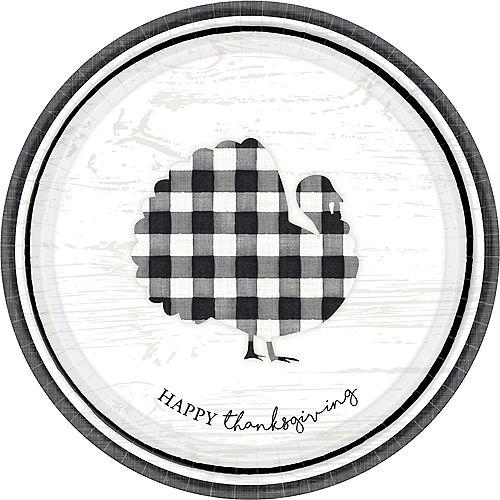 Black & White Thanksgiving Dinner Plates 8ct Image #1