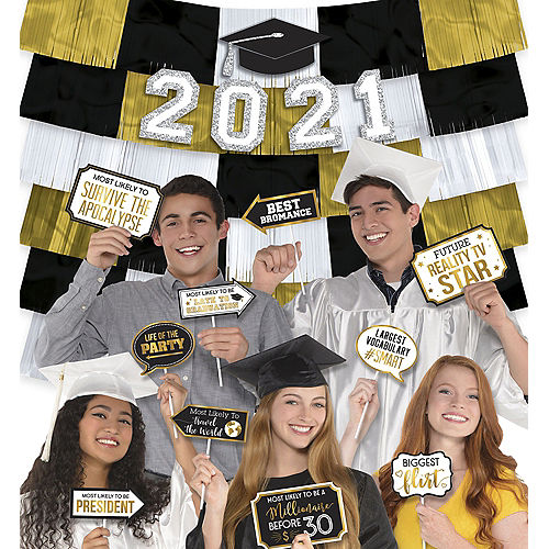 Black & Gold Graduation Photo Booth Kit Image #1