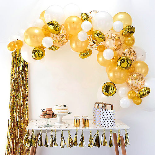 Air-Filled Ginger Ray Gold Balloon Arch Kit 72pc Image #1