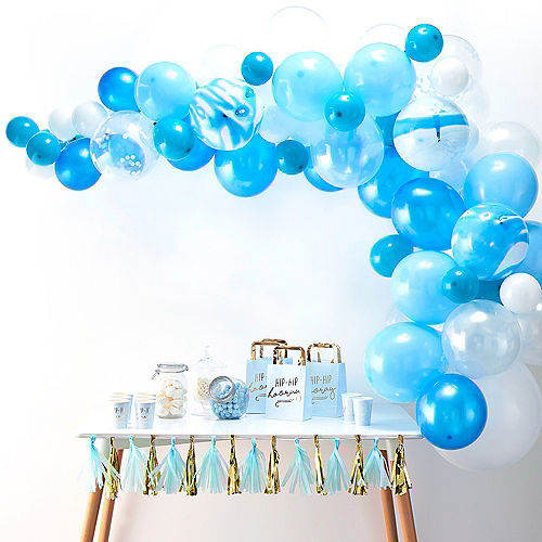 Air-Filled Ginger Ray Blue Balloon Arch Kit 72pc Image #1