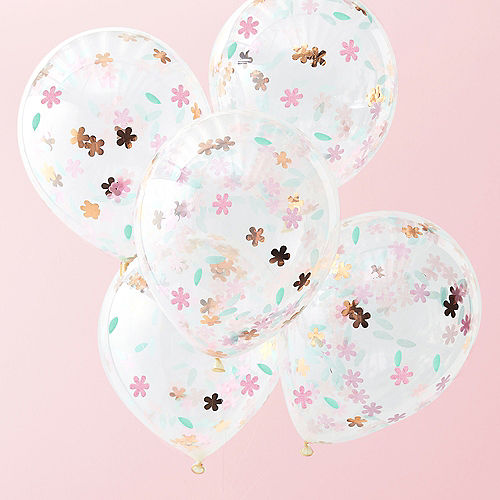Ginger Ray Floral Confetti Balloons 5ct Image #1