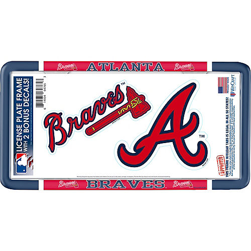 Atlanta Braves License Plate Frame with Decals 3pc Image #1