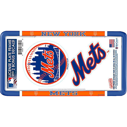 New York Mets License Plate Frame with Decals 3pc Image #1