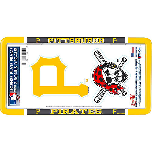 Pittsburgh Pirates License Plate Frame with Decals 3pc Image #1