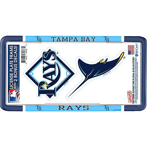 Tampa Bay Rays License Plate Frame with Decals 3pc Image #1