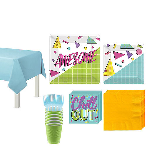 Awesome 80s Tableware Kit for 8 Guests Image #1