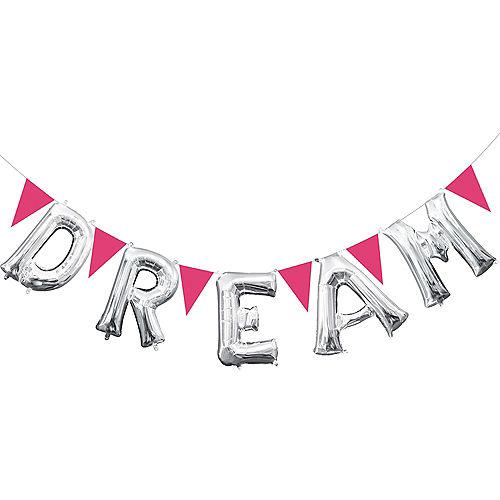 Silver Dream Letter Balloons & Pink Pennant Banner Kit Image #1
