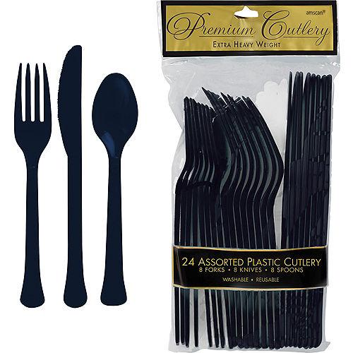 True Navy Blue Premium Plastic Cutlery Set 24ct Image #1