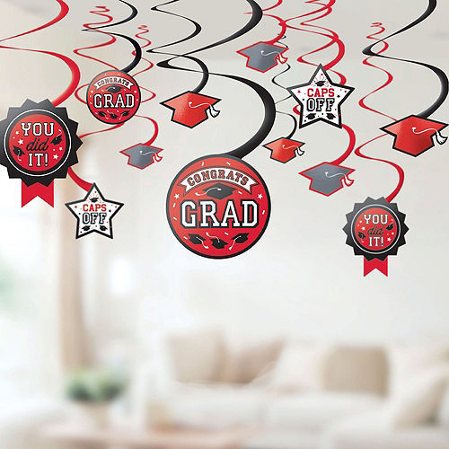 Ultimate Red Congrats Grad Graduation Party Kit for 100 Guests Image #7