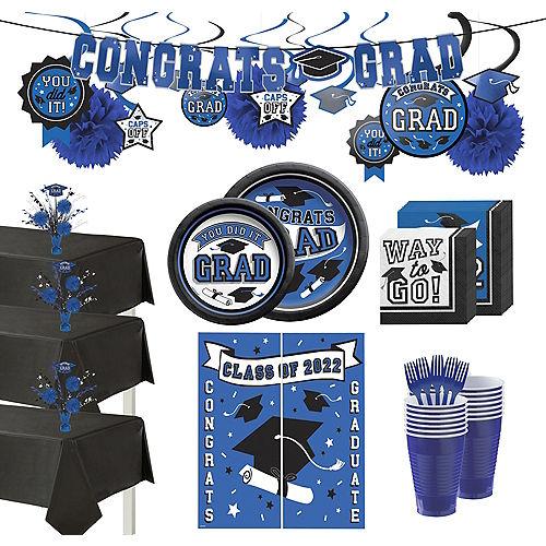 Ultimate Blue Congrats Grad Graduation Party Kit for 100 Guests Image #1