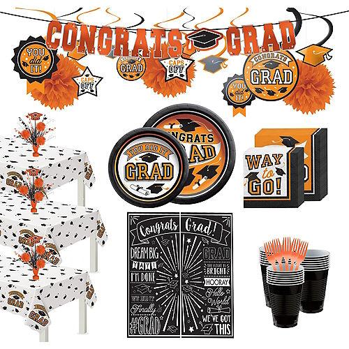 Ultimate Orange Congrats Grad Graduation Party Kit for 100 Guests Image #1