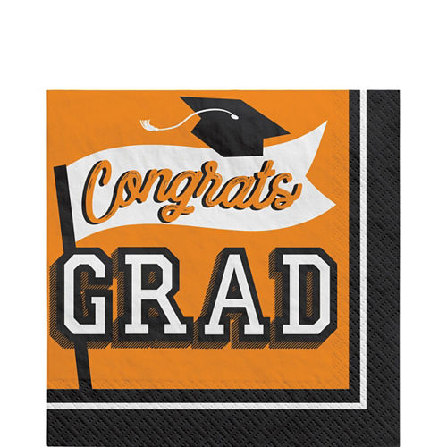 Ultimate Orange Congrats Grad Graduation Party Kit for 100 Guests Image #4