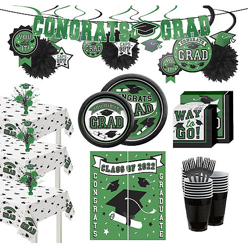 Ultimate Green Congrats Grad Graduation Party Kit for 100 Guests Image #1