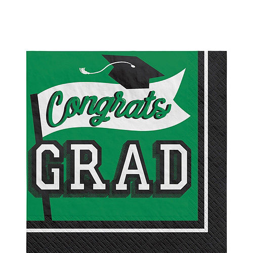 Ultimate Green Congrats Grad Graduation Party Kit for 100 Guests Image #3