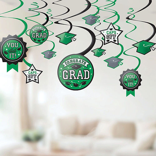 Ultimate Green Congrats Grad Graduation Party Kit for 100 Guests Image #7