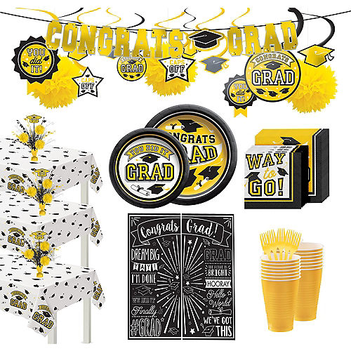 Ultimate Yellow Congrats Grad Graduation Party Kit for 100 Guests Image #1