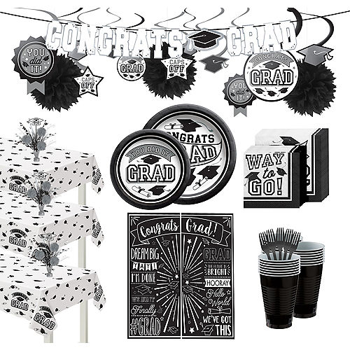 Ultimate White Congrats Grad Graduation Party Kit for 100 Guests Image #1