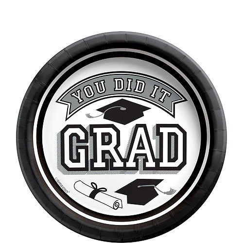 Ultimate White Congrats Grad Graduation Party Kit for 100 Guests Image #3