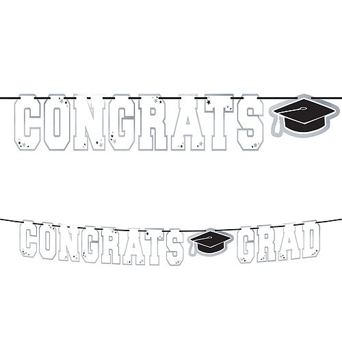 Ultimate White Congrats Grad Graduation Party Kit for 100 Guests Image #7