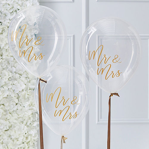 Ginger Ray Gold Mr. & Mrs. Balloons 5ct Image #1