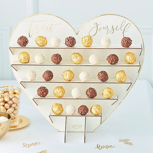 Ginger Ray Metallic Gold Heart-Shaped Treat Stand Kit 8pc Image #1