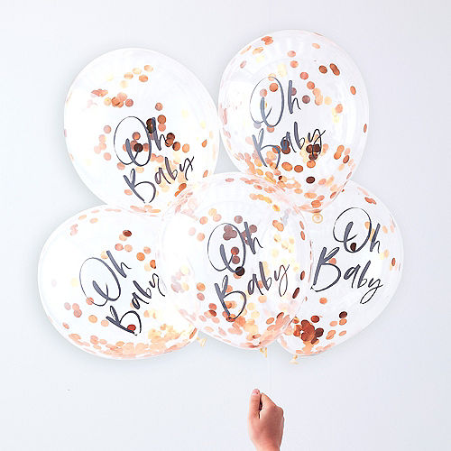 Ginger Ray Metallic Rose Gold Oh Baby Confetti Balloons 5ct Image #1