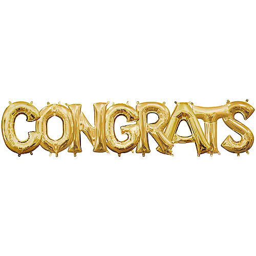 DIY Air-Filled Gold Congrats Balloon Phrase Banner, 13in Letters, 8pc Image #1
