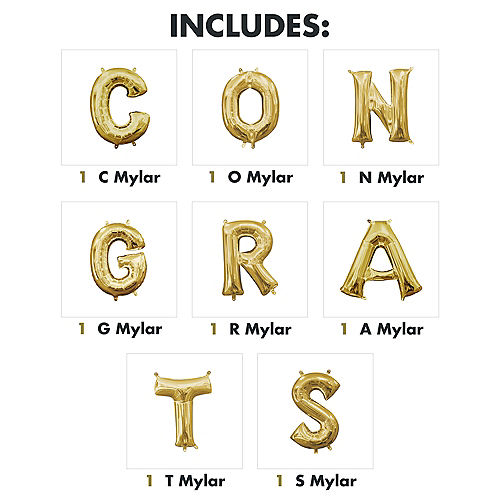 DIY Air-Filled Gold Congrats Balloon Phrase Banner, 13in Letters, 8pc Image #2