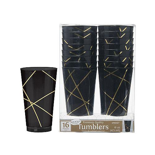 Black Metallic Gold Line Premium Plastic Cups 16ct Image #1