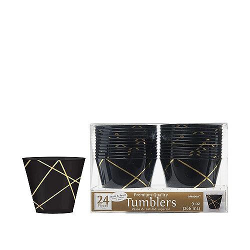 Black Metallic Gold Line Premium Plastic Cups 24ct Image #1