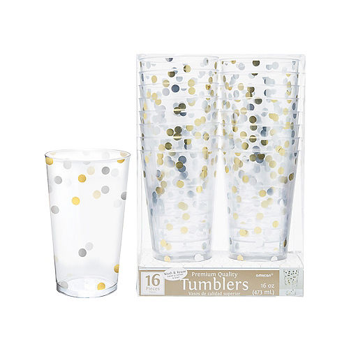 Metallic Gold & Silver Confetti Premium Plastic Cups 16ct Image #1