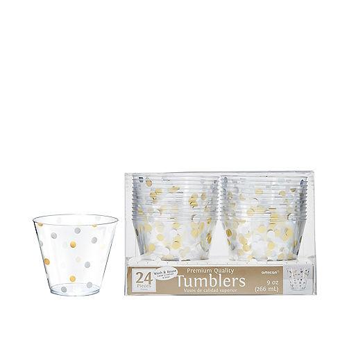 Metallic Gold & Silver Confetti Premium Plastic Cups 24ct Image #1