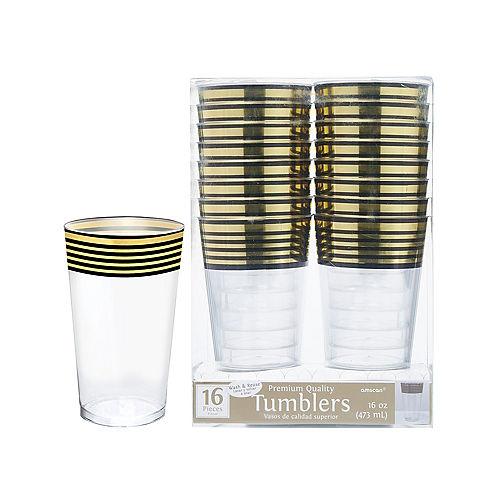 Black & Metallic Gold Stripe Premium Plastic Cups 16ct Image #1