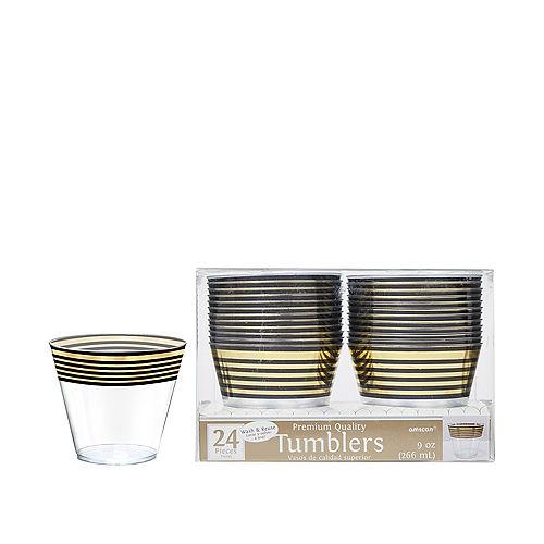 Black & Metallic Gold Stripe Premium Plastic Cups 24ct Image #1
