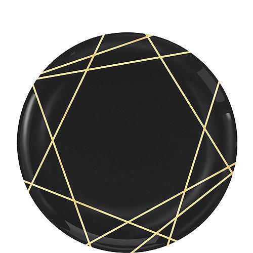 Black Metallic Gold Line Premium Plastic Dessert Plates 20ct Image #1