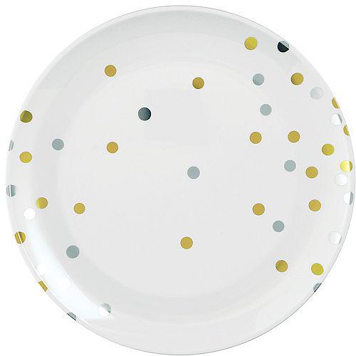 Metallic Gold & Silver Confetti Premium Plastic Dinner Plates 10ct Image #1
