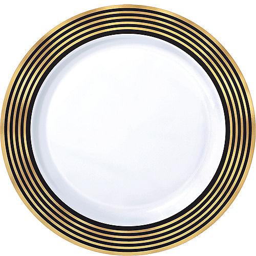 Black & Metallic Gold Stripe Premium Plastic Dinner Plates 10ct Image #1