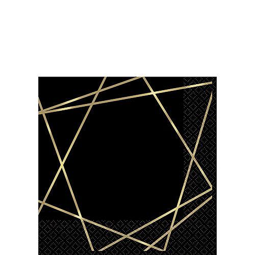 Black Metallic Gold Line Premium Beverage Napkins 16ct Image #1