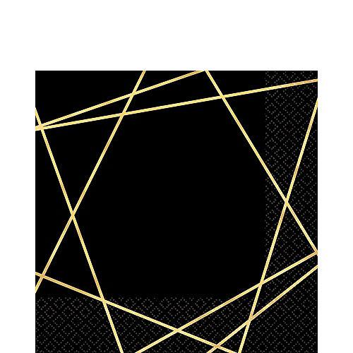 Black Metallic Gold Line Premium Lunch Napkins 16ct Image #1
