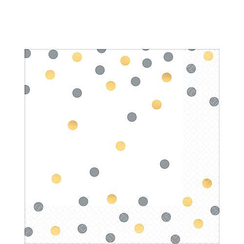 Metallic Gold & Silver Confetti Premium Lunch Napkins 16ct Image #1